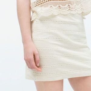 Zara Falda Blanca Crochet Mini Skirt Size Medium